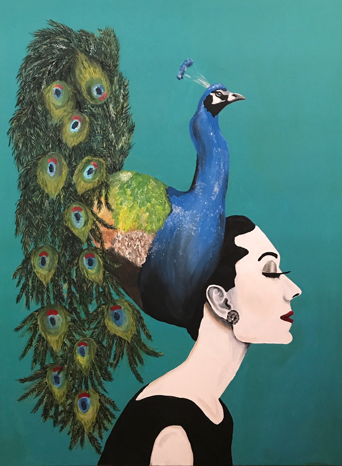 Audrey Hepburn Sporting a Peacock Hat June 2017